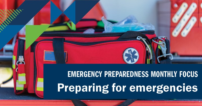 """Image of first aid kit with text """"Preparing for emergencies"""""""