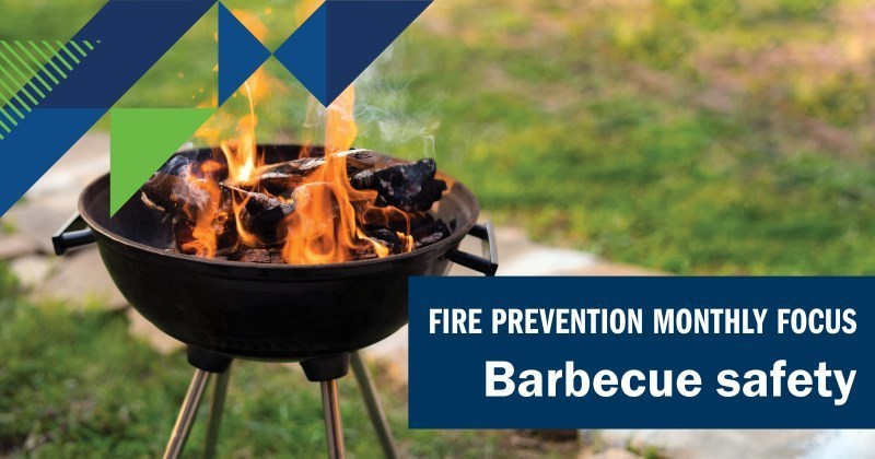 Barbecue safety image showing barbecue fire