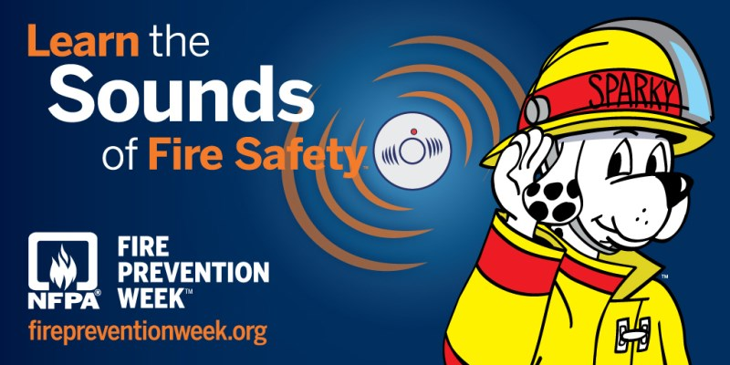 Fire Prevention Week graphic: learn the sounds of fire safety