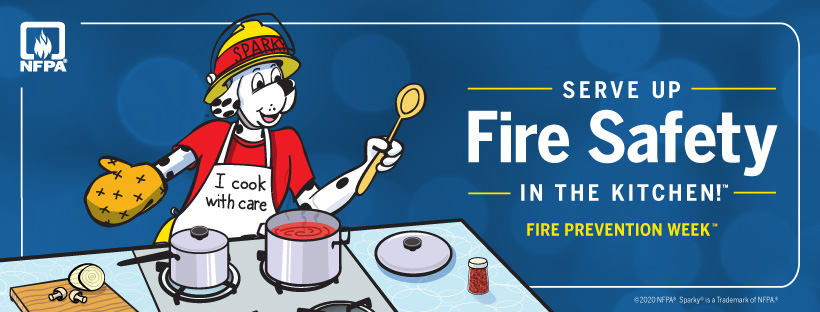 Fire Prevention Week graphic: serve up fire safety in the kitchen
